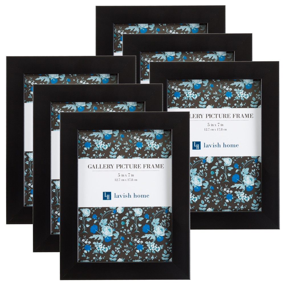 "Image of ""Picture Frame with Stand & Hanging Hooks Black 5""""x7"""" 6pk - Lavish Home"""