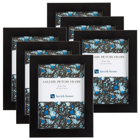 """Picture Frame with Stand & Hanging Hooks Black 5""""x7"""" 6pk - Lavish Home - image 1 of 4"""