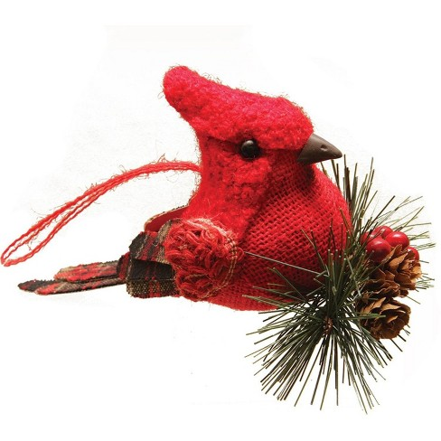 "Northlight 6.25"" Burlap and Plaid Cardinal on Pine Sprig Christmas Ornament - Red - image 1 of 1"