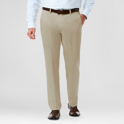 Domple Mens Straight Stretchy Non-Iron Casual Expandable-Waist Dress Pants