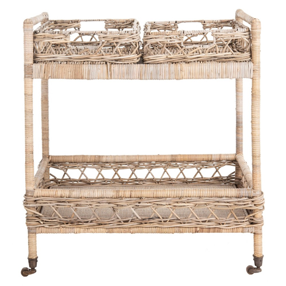 Image of Ambrose 2 Tier Rattan Bar Cart Gray Wash/Antique Brass - Safavieh, Brown Gray