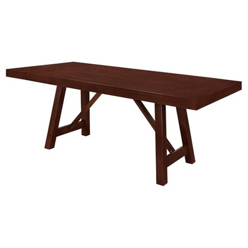 60 Solid Wood Trestle Dining Table Espresso Saracina Home