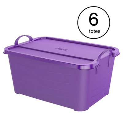 Life Story Purple Stackable Closet Organization Storage Box, 55 Quart (6 Pack)