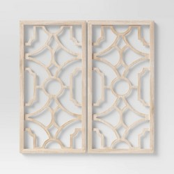 Set of 2 Wood Lattice Wall Hanging Brown - Threshold™