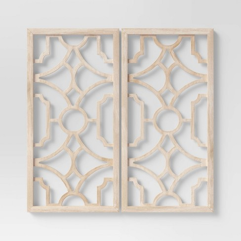 Wood Lattice Wall Hanging Brown