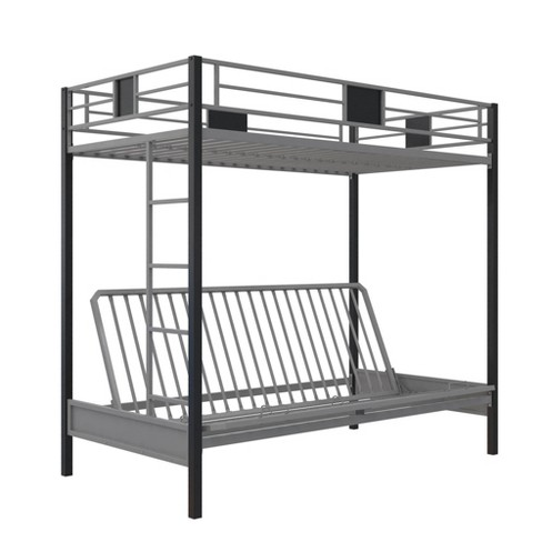 Twin over Futon Silver Screen Metal Bunk Bed Black - Dorel Home Products - image 1 of 4