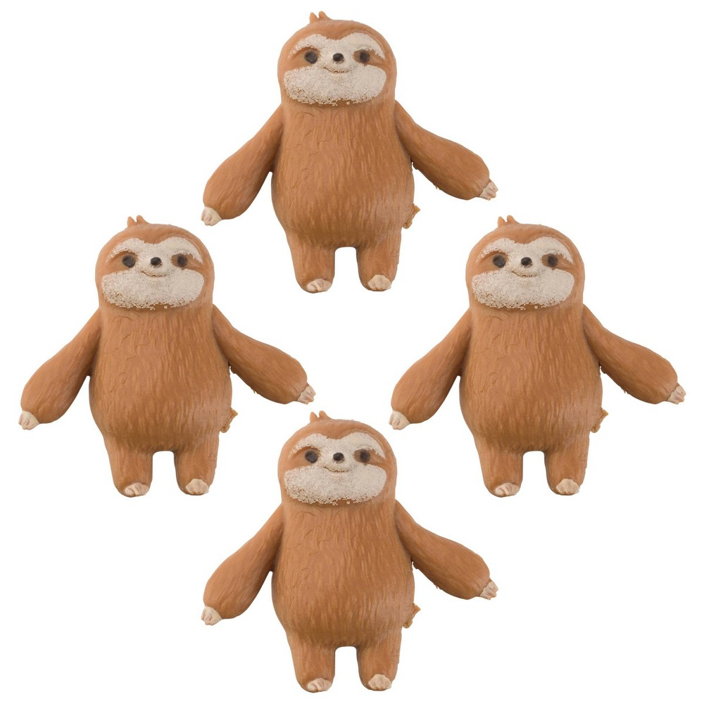 Image of 4pc Squishy Sloths Animal Figures
