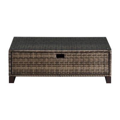 Oceanside Outdoor Coffee Table with Storage - Gray Wicker - Finch