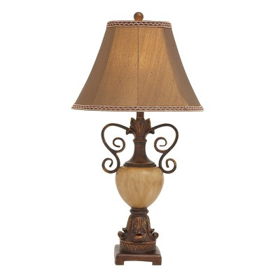 """32"""" x 10"""" Metal and Polystone Table Lamp with Detailed Shade Antique Bronze - Olivia & May"""