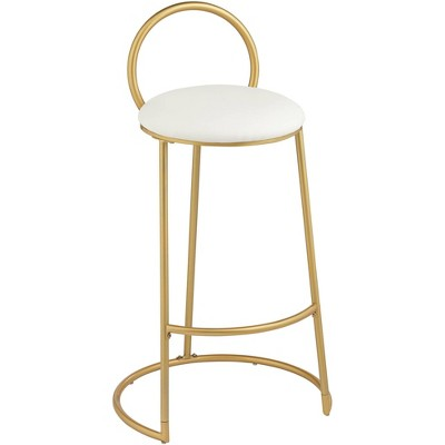 """55 Downing Street Claire 30 1/2"""" Hammond Gold and White Faux Leather Barstool"""