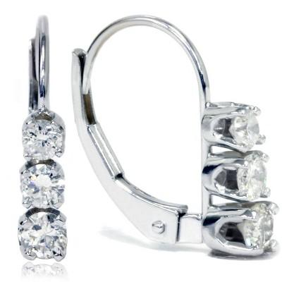 Pompeii3 1/2ct 3 Stone Diamond Earrings 14K White Gold