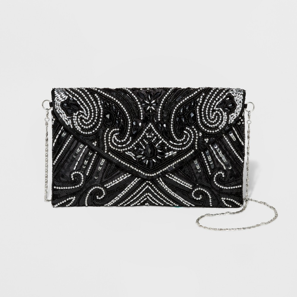Image of Estee & Lilly Bead Flap Clutch - Black, Women's