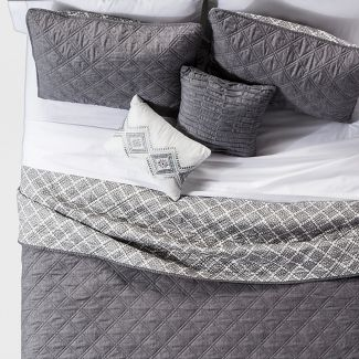 Gray Cole Stitched Chambray Reversible Quilt Set Full/Queen 5pc