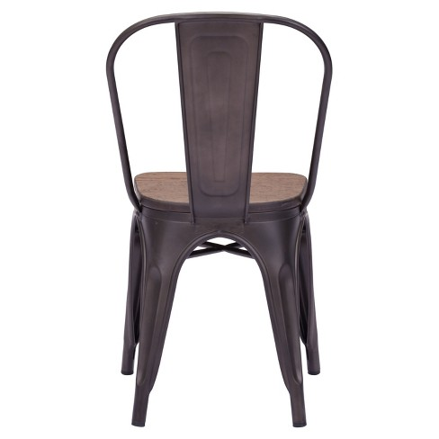 9f4fbef817d5 Industrial Style Metal and Rustic Wood Dining Chairs (Set of 2) - ZM Home