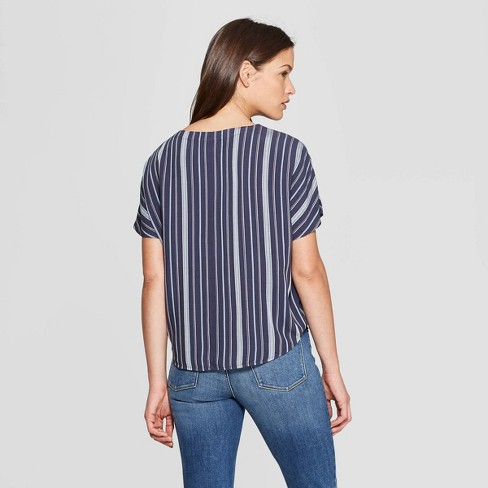 65b0934cc6c7c Women s Striped Short Sleeve Tie Front Top - Universal Thread™ Blue   Target