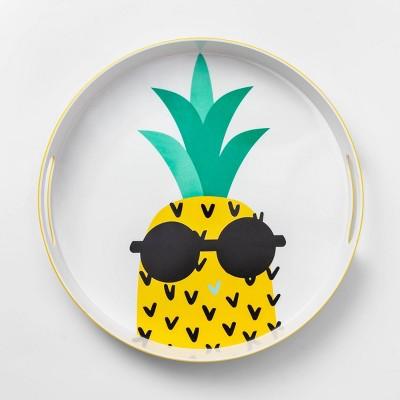 14.9  Plastic Pineapple Round Serving Tray - Sun Squad™