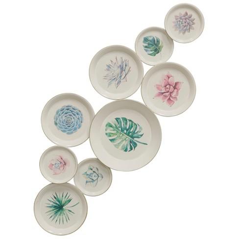 19 09 Metal Botanical Painted Plates Decorative Wall Art Stylecraft