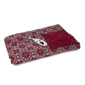 "Printed Pattern Microplush Electric Throw Blanket (62"" X 50"") Snowflake - Biddeford Blankets"