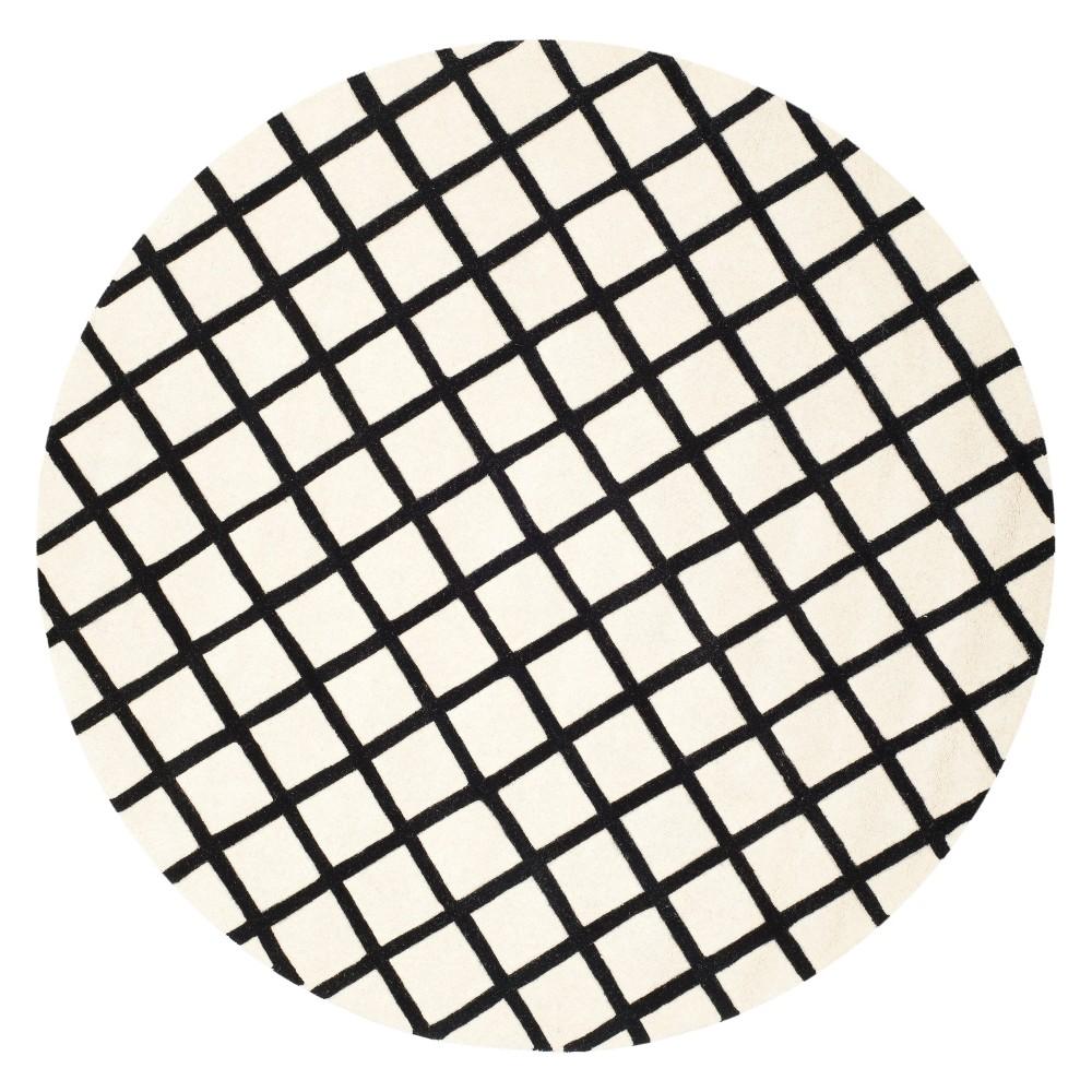 7' Geometric Tufted Round Area Rug Ivory/Black - Safavieh