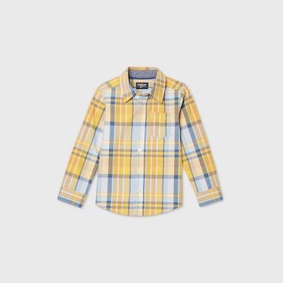 OshKosh B'gosh Toddler Boys' Long Sleeve Plaid Woven Button-Down Shirt - Yellow 12M