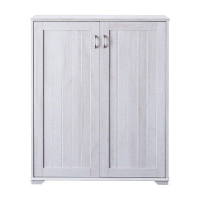 Lucile Wood Shoe Cabinet with 5-Shelf in White Oak - Furniture of America