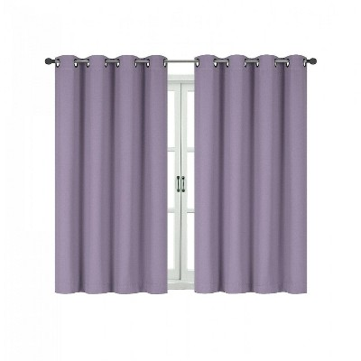 Kate Aurora 100% Hotel Thermal Blackout Lavender Grommet Top Curtain Panels
