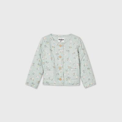 OshKosh B'gosh Toddler Girls' Floral Quilted Jacket - Green 12M