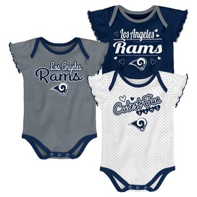 the best attitude 22f3f 95691 NFL Los Angeles Rams Girls' Newest Fan 3pk Bodysuit Set