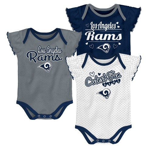 NFL Los Angeles Rams Girls' Newest Fan 3pk Bodysuit Set - image 1 of 4