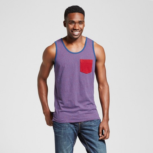 Men's Vented Hem Tank with Pocket - Mossimo Supply Co.™ Purple Heather L - image 1 of 2