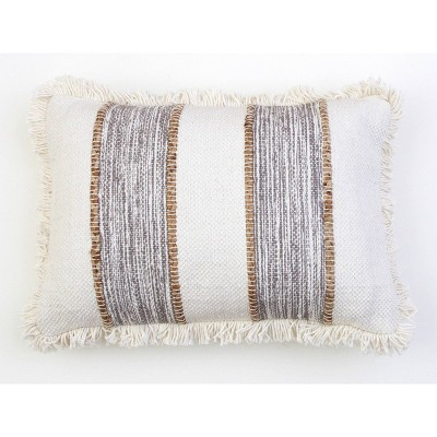 "14""X20"" Bodhi Jute Rope Fringe Trim Pillow Gray - Decor Therapy"