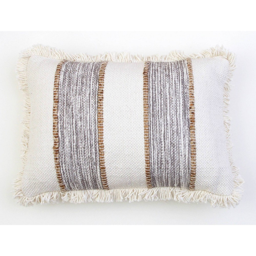 "Image of ""14""""X20"""" Bodhi Jute Rope Fringe Trim Pillow Gray - Decor Therapy"""
