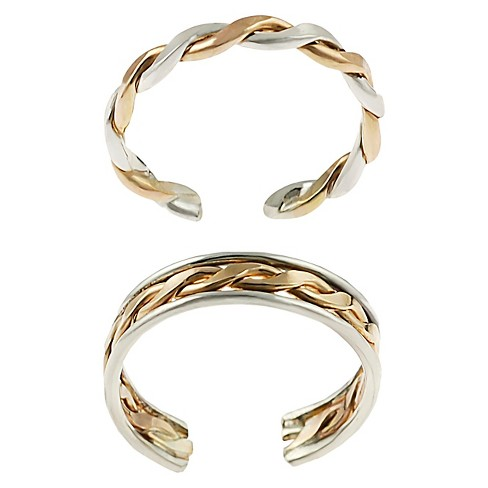 Women's Journee Collection Goldfill Sterling Silver Twisted Two-piece Toe Ring Set - Two Tone - image 1 of 3