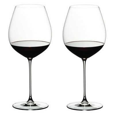 Riedel 25 Ounce Veritas Old World Pinot Noir Clear Crystal Wine Glass Set for Light Bodied Red Wines with Microfiber Polishing Cloth, Set of 2