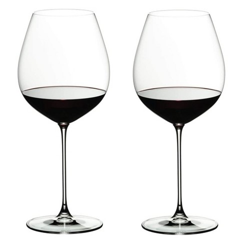 Riedel 25 Ounce Veritas Old World Pinot Noir Clear Crystal Wine Glass Set for Light Bodied Red Wines with Microfiber Polishing Cloth, Set of 2 - image 1 of 4