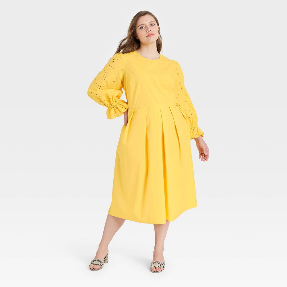 Women 39 S Plus Size Balloon Long Sleeve A Line Dress Who What Wear 8482 Yellow 2x