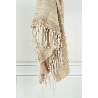 "50""x60"" Stripe Throw Blanket Beige - Rizzy Home"