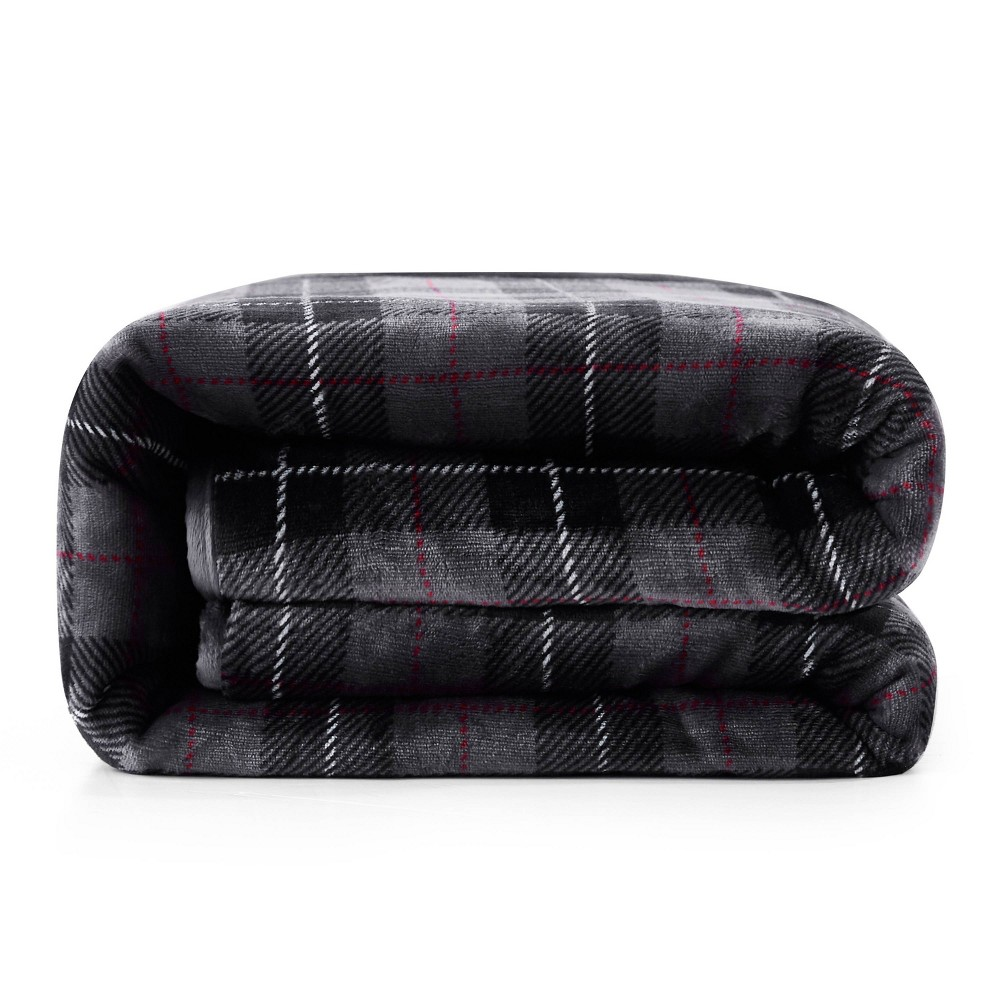 Image of Deer Applique Shiny Velvet Reversible to Sherpa Weighted Throws Plaid Gray - Rejuve