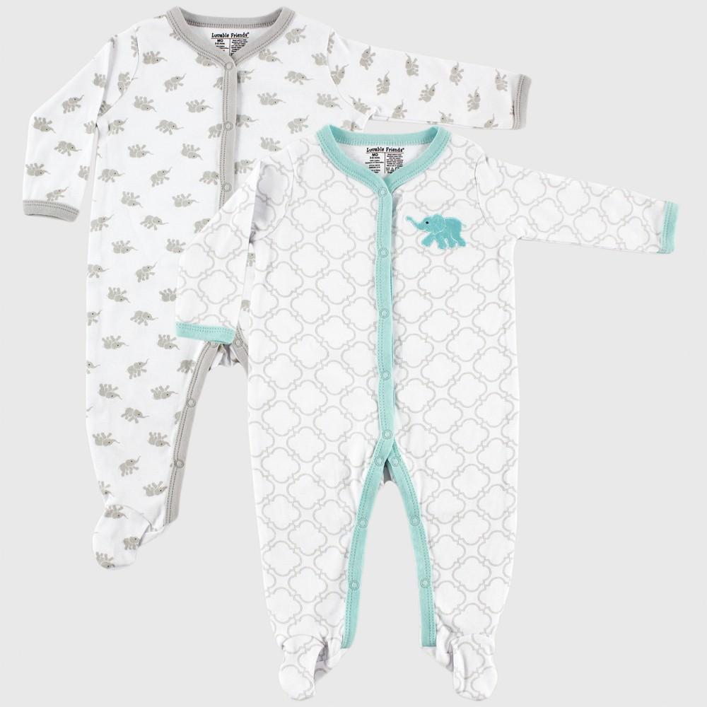 Luvable Friends Baby Elephant Sleep 'N Play Pajama Set - Teal 0-3M, Infant Unisex, Blue