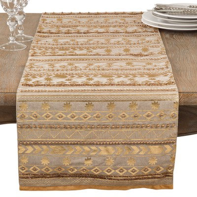 Light Gold Geometric Table Runner- Saro Lifestyle