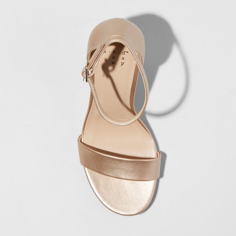 bf5b6cdcbd5 Women's Ema Satin Wide Width High Block Heel Pump Sandal - A New Day™ Rose  Gold 7W