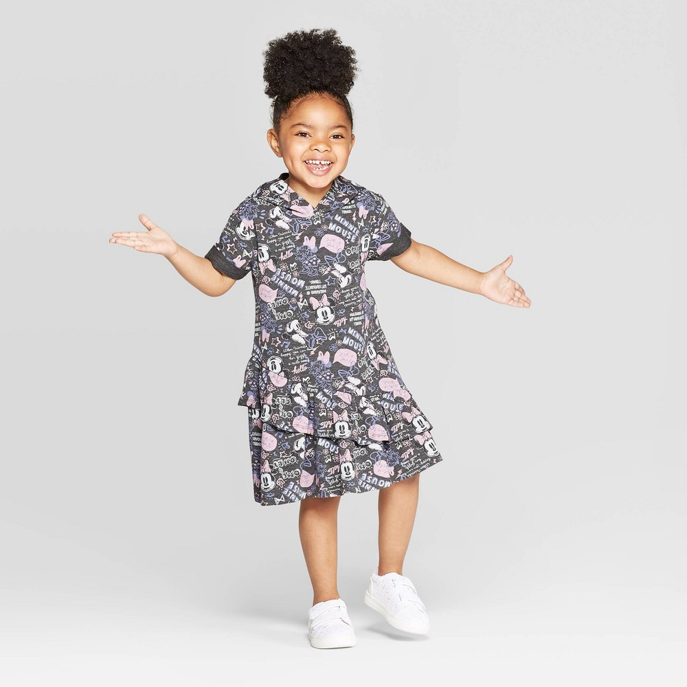 Image of Toddler Girls' Disney Minnie Mouse Graffiti Print Hoodie Dress - Charcoal 4T, Girl's, Gray