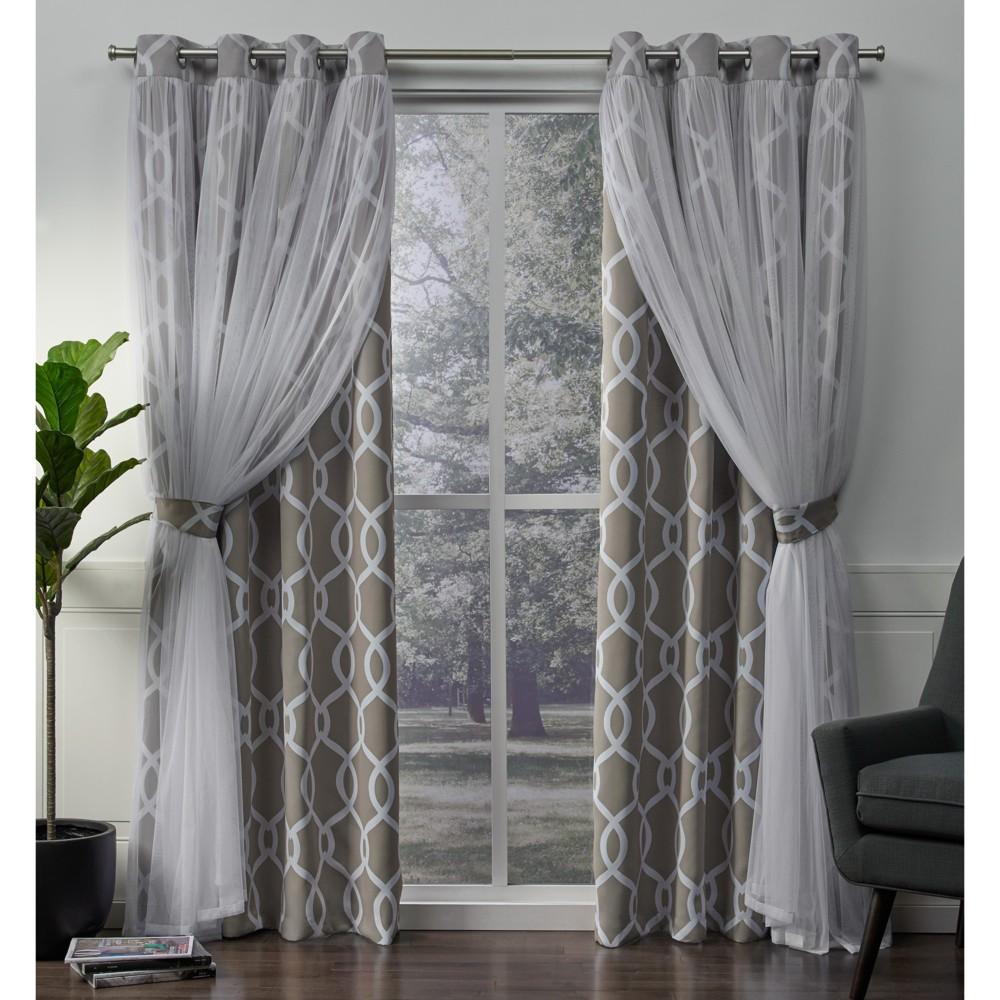 Carmela Layered Geometric Woven Blackout with Sheer Top Curtain panels Natural 52x108 - Exclusive Home