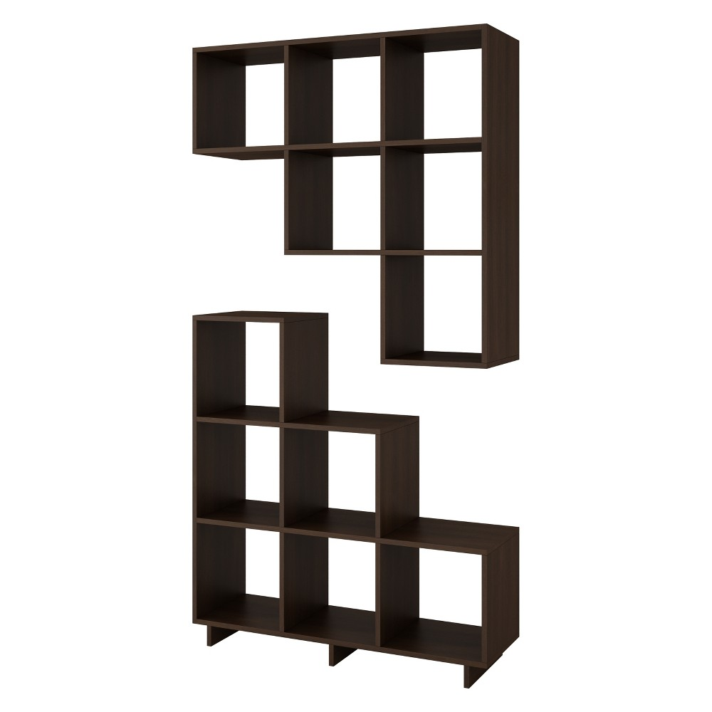 38.58 Set of 2 Cascavel Stair Cubby Tobacco Brown - Manhattan Comfort