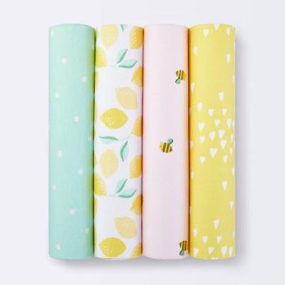 Flannel Baby Blankets Honeybee 4pk - Cloud Island™ Yellow/Pink