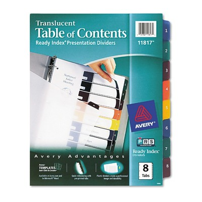 Avery Ready Index TableContents Dividers 8Tab Letter Assorted