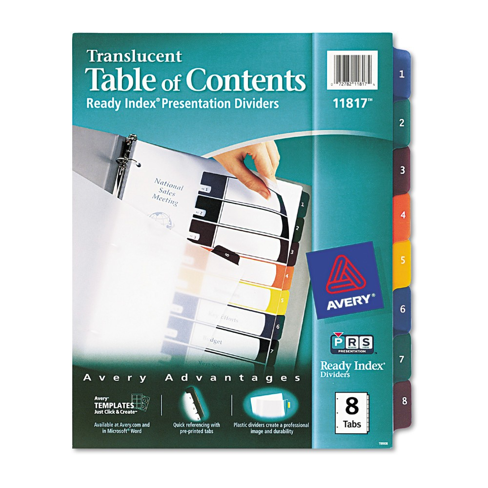 Avery Ready Index Table/Contents Dividers, 8-Tab, Letter, Assorted, 8/Set, Multi-Colored