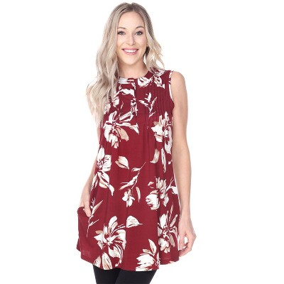 Women's Floral Printed Sleeveless Orabelle Tunic - White Mark
