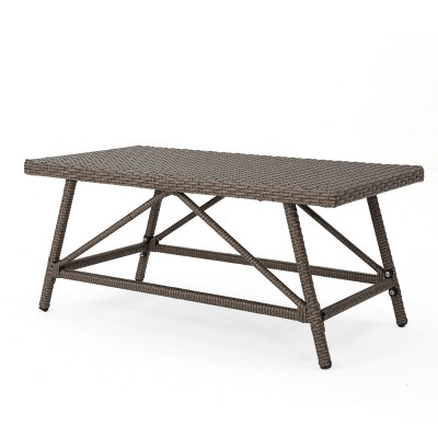 Hazel Wicker Coffee Table - Light Brown - Christopher Knight Home