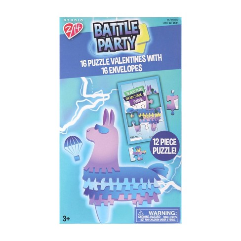 16ct Battle Party Puzzle Valentines With Envelopes - image 1 of 1